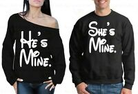 Couple Sweater He's Mine She's Mine Valentine's Day Gift For Him Off Shoulder