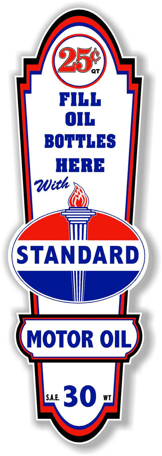 """GAS PUMP 16/"""" X 5/"""" STANDARD GASOLINE LUBSTER FRONT DECAL LUBESTER OIL CAN"""