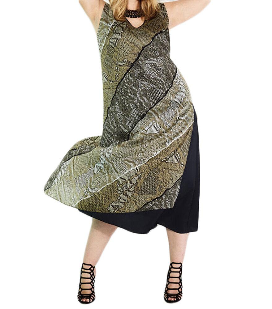Marina Rinaldi Damen Braun Davanti Schlangenhaut-Druck Kleid Nwt