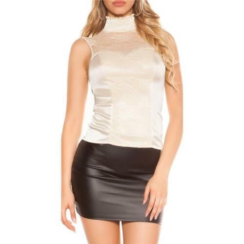 Edles Glamour Top aus Satin mit Spitze und Zipper Beige #T1650