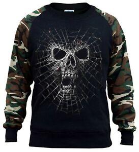 New Men/'s Black Widow Camo Raglan Sweatshirt Spider Skull Halloween Scary Biker