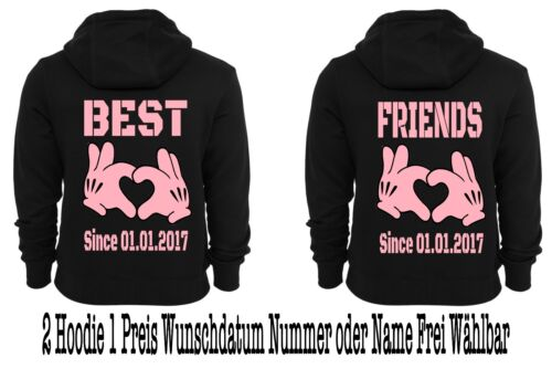 Hoodie Pullover con Best Friends motivo 2 pezzi partner look Hipster Div motivi