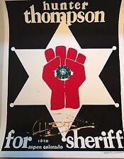 RARE Signed Hunter S. Thompson for Sheriff - Thomas W. Benton Silkscreen Gonzo