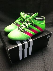 new style 75c5b d2826 Details about Adidas Ace 16.3 PrimeMesh TF J Soccer Cleats AQ2559 -Green  Pink Black Size 12.5