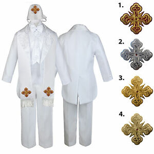5 6 7pc White Baby Kid Boy Christening Formal Tail Paisley Suits Cross Hat Stole