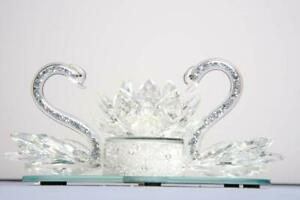 Romantic-Pair-of-Crystal-Swan-with-LED-illuminated-Crystal-filled-Lotus-Ornament