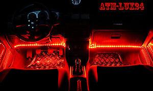 2x-eclairage-de-Zone-pieds-interieur-CAMION-ROUGE-LED-MOULURE-33cm-18-SMD-24V