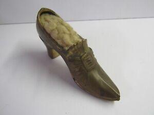Antique Metal Ladys Shoe Pin Cushion 3 x 6