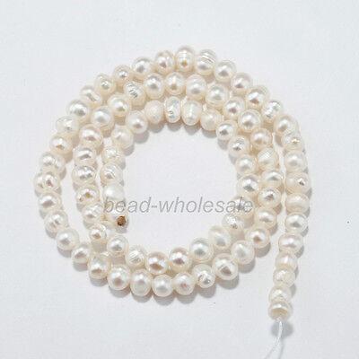Natural Freshwater White Pearl Irregularity Rice Beads 4mm 5mm 6mm 7mm U pick