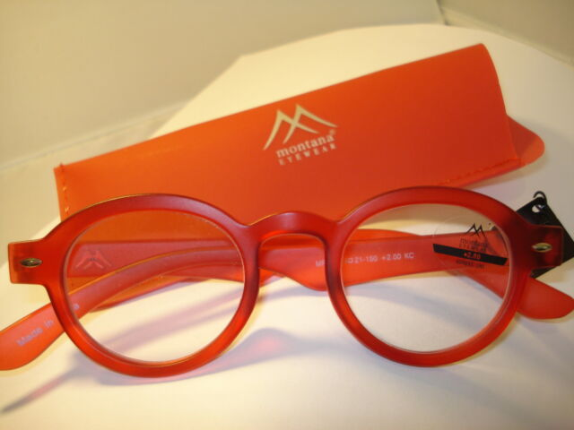 4017f9142e5 2 Pair Auth Montana Vintage Round Reading Glasses Readers Black   Red 2.00