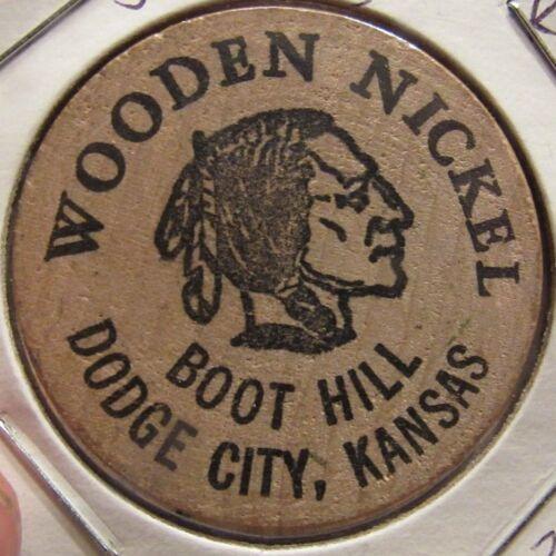 Token Kansas #2 Vintage Souvenir of Boot Hill Dodge City KS Wooden Nickel