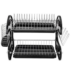 2-Tier-Dish-Drying-Rack-Stainless-Steel-Drainer-Kitchen-Storage-Space-Saver