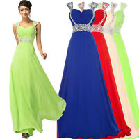 UK Long Maxi Prom Evening Party Dress Formal Ball Gown Bridesmaid Wedding Dress