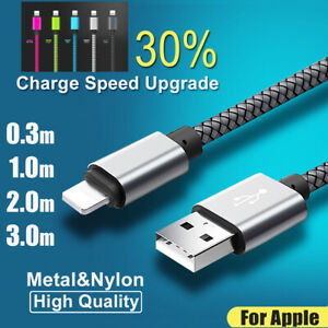 1-2-3M-Long-Braided-USB-Cable-Quick-High-Speed-Data-Sync-Charger-For-iPhone-8-X