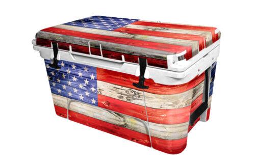 "RTIC Wrap /""Fits Old Mold/"" 45qt Cooler 24mil Full Kit USA Flag Wood Color"