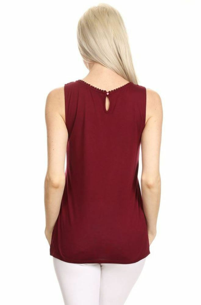 Solid Lace Panel Detailed Sleeveless With Back Keyhole Top S~3XL