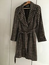 Jaeger brown check coat - wool mix - size M 12 14 16