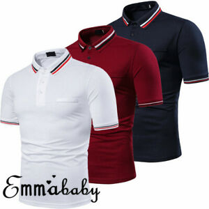 Men-039-s-Slim-Fit-Shirts-Short-Sleeve-Casual-Golf-T-Shirt-Jersey-Tops-Tee