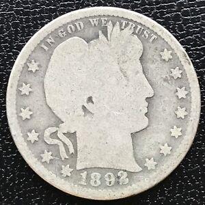 USA-1892-Barber-Quarter-Philadelphia-Silber-Selten-12571