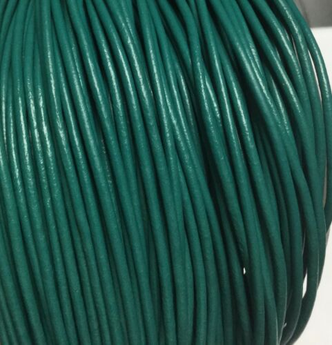 5 Yards Genuine Leather Cord Round Teal Size 1.5mm Jewelry Supplies