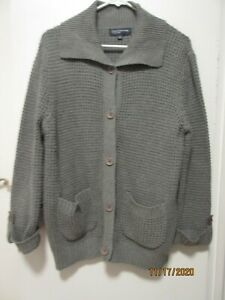 WOMEN'S  JONES NY LONG SLEEVE GREY CARDIGAN SWEATER  BUTTONS SIZE LARGE - NWT