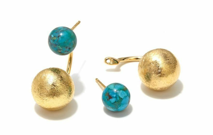 BELLEZZA TURQUOISE STUD WITH REMOVABLE DROP YELLOW BRONZE EARRINGS