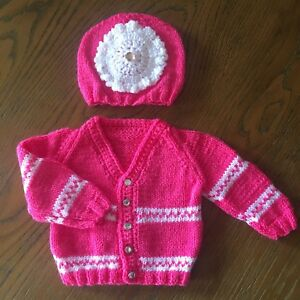 Girls' Clothing (newborn-5t) Babies Hand Knitted Cardigan And Hat Sets