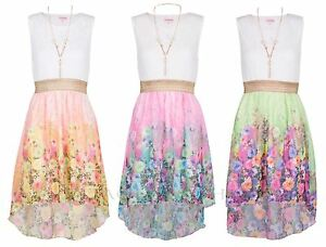 Girls-Kids-Summer-Party-Sleeveless-Lace-Tops-Floral-High-Low-Dress-3-13-Years