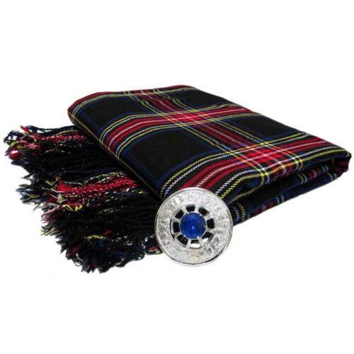 CC Scottish Piper/'s Kilt Fly Plaid with Stone Brooch//Kilt Fly Plaid Brooches