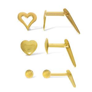 9CT-Oro-Cierre-Pernos-Bola-de-2-5MM-C-corazon-solido-Corazon-sola-Caja-pasadores-de-nariz
