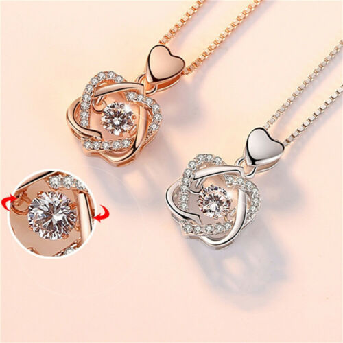 Rose Gold Heart Pendant 925 Sterling Silver Chain Necklace Jewellery Womens Gift