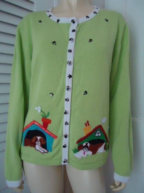 BOBBIE BELL BELL BELL Sweater L Ramie Cotton Doggie Pawprint Applique Cardigan SWEET  fef17c