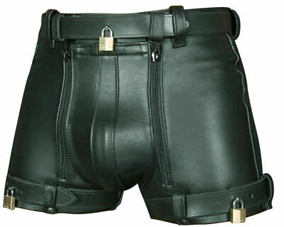 MENS 100/% GENUINE LEATHER SHORTS with DOUBLE ZIP ZIPPER /& BELT