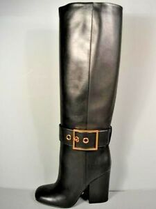 Gucci Kesha Black Leather Knee High Gold Buckle Stacked Heel Boots 37 7 New 885133894685 Ebay