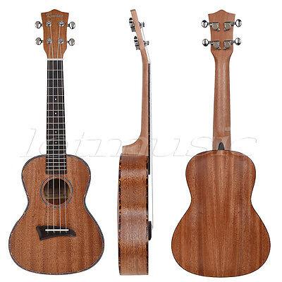 23 Inch Kmise Mahogany Concert Ukulele Hawaii Guitar Rosewood Back Red Binding