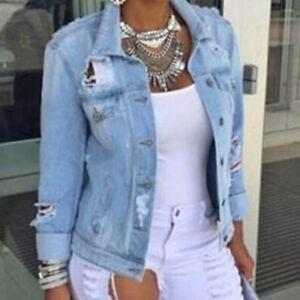 Fashion Womens Long Sleeve Coat Denim Loose Short Jean Jacket Plus