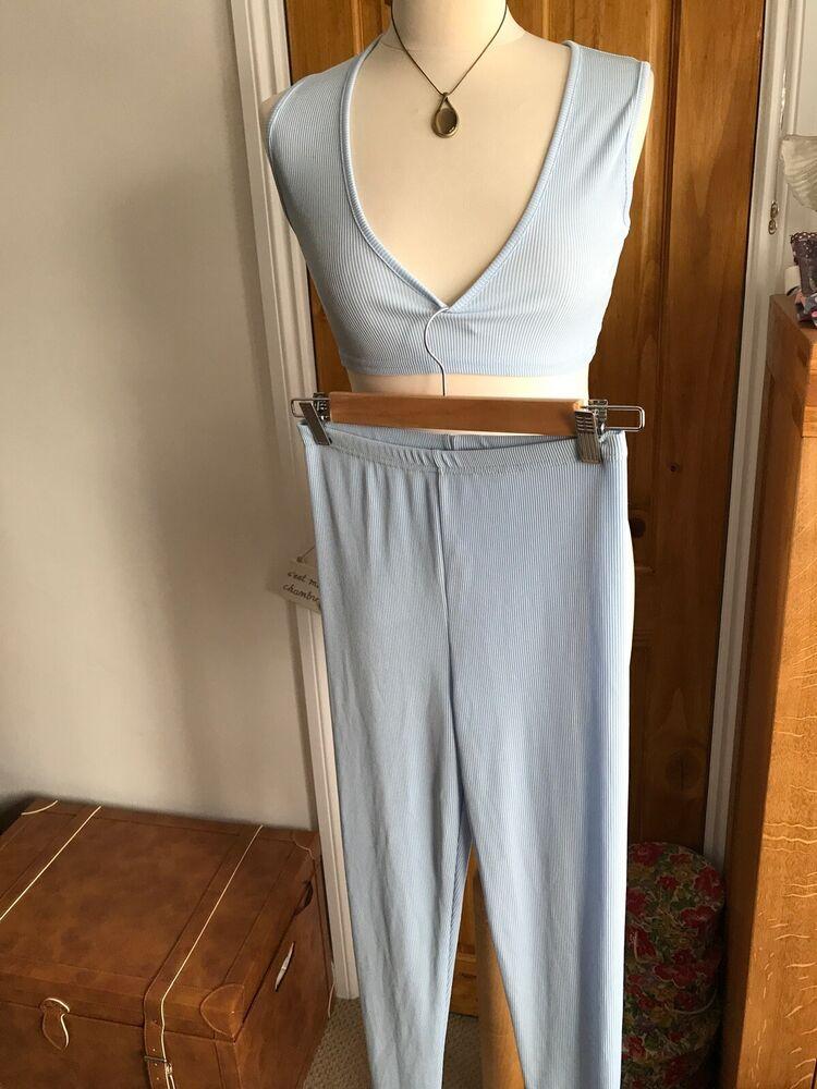 Boohoo Kinsley V Neck Crop Top Skinny Trouser Co-ord Set Bleu Ciel Taille 10