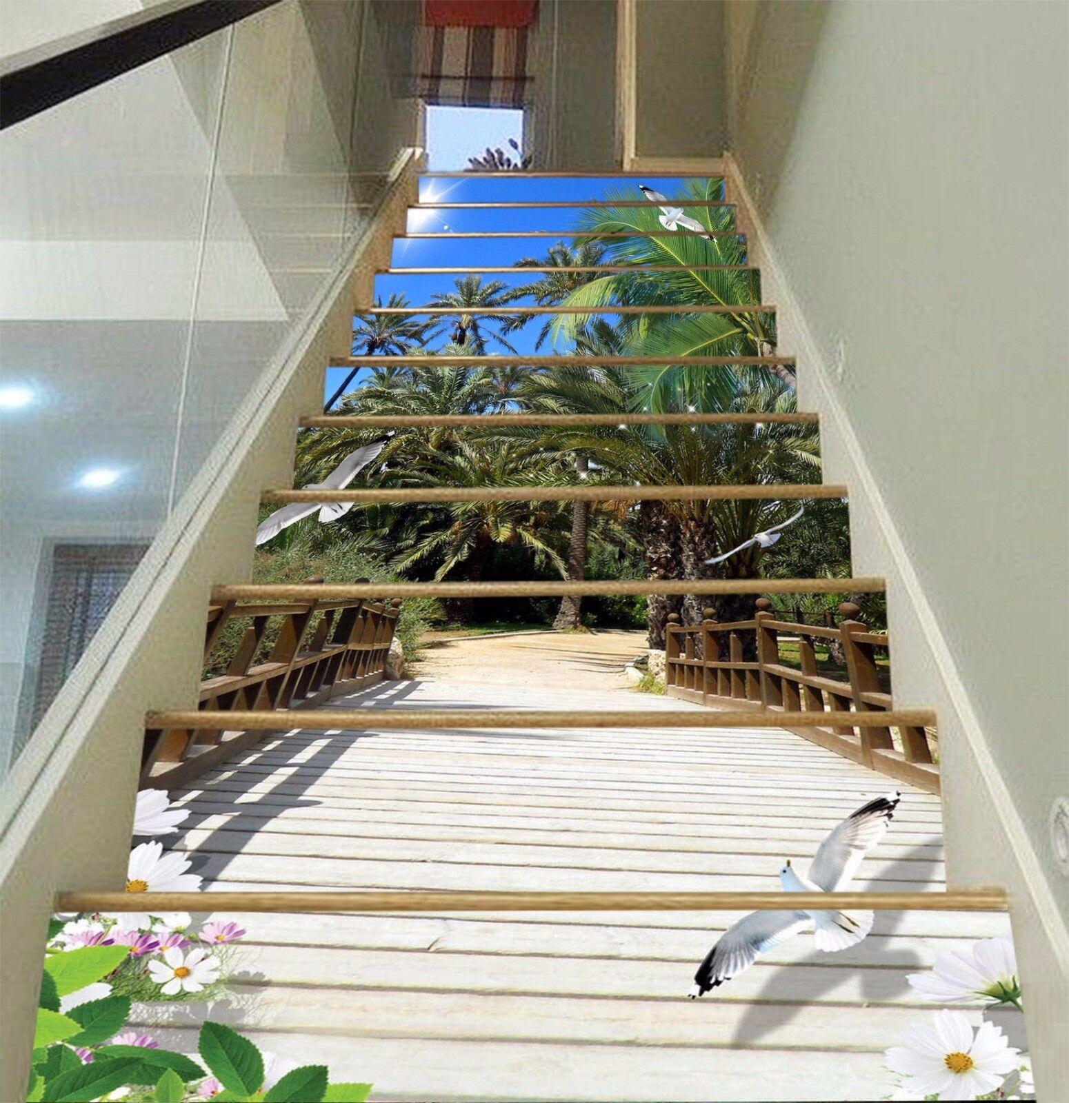 3D Bridge Tree 416 Risers Decoration Photo Mural Vinyl Decal Wallpaper CA