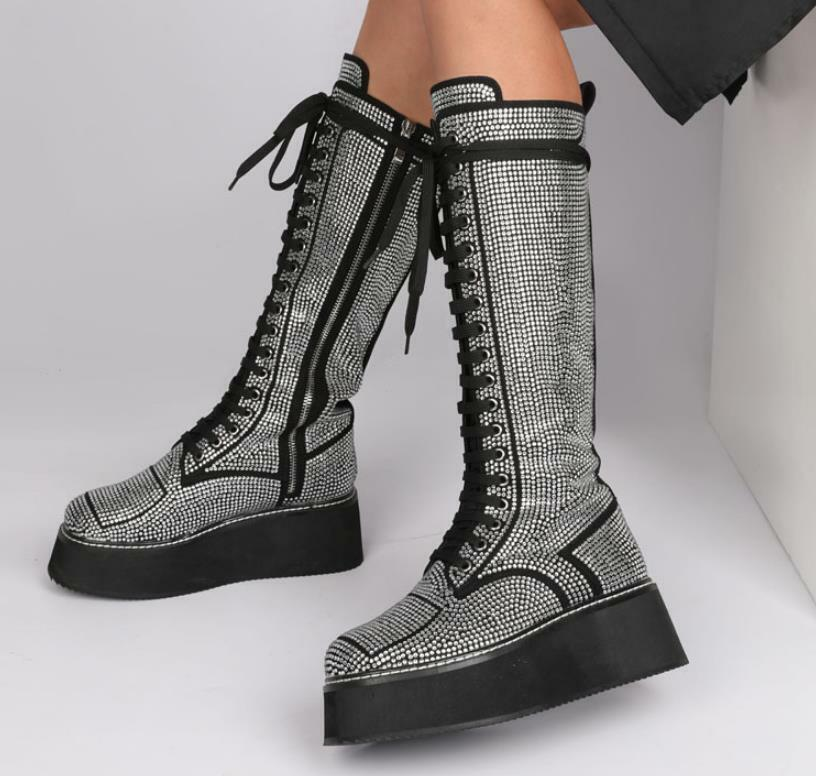 Ladies Lace Up Wedge Heel Knee High Boots Round Toe Rhinestone Riding Shoes Club