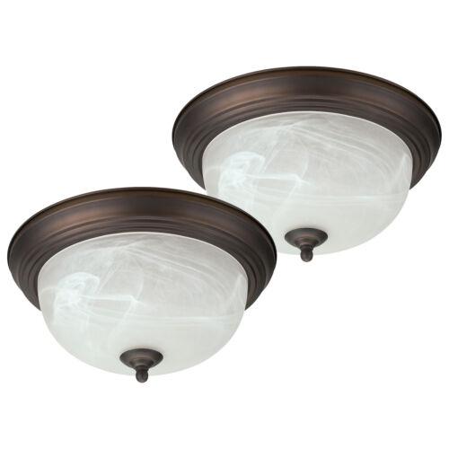 "Oil Rubbed Bronze Flush Mount Ceiling Light Fixture 13/"" Alabaster Glass 2 Pack"