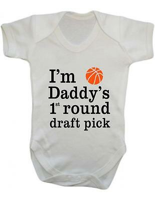 "Baby Grow ""Basketball- Daddys 1st round Draft Pick"" Basketball Funny, Baby Grow"