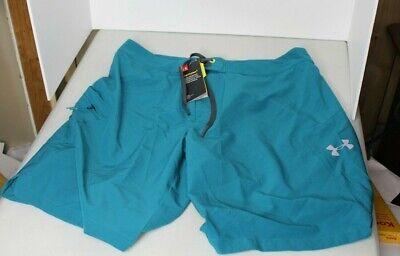 Under Armour REBLEK turquoise printed stretch board shorts swim trunk 32 34 36