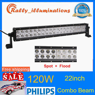 "22/"" 120W Philips Led Light Bar Spot/&Flood Driving Lamp Off-road 4WD Boat 12V 24V"