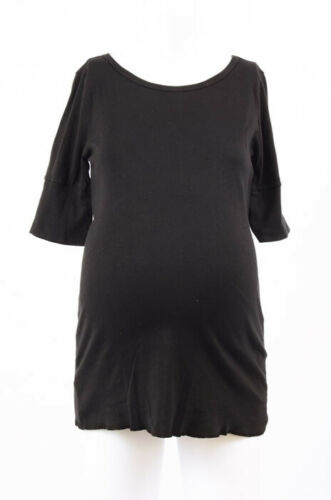 Michael Stars Maternity Black OSFA Supima elbow sleeve crew tshirt top New $52
