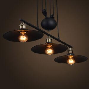 3 Light Chandelier Adjustable Pulley Pendant Lamp Vintage Ceiling