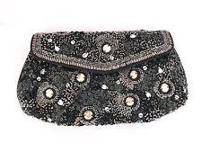 Antik Batik Black Sequin and Bead Embellished Boho-Luxe Evening Bag