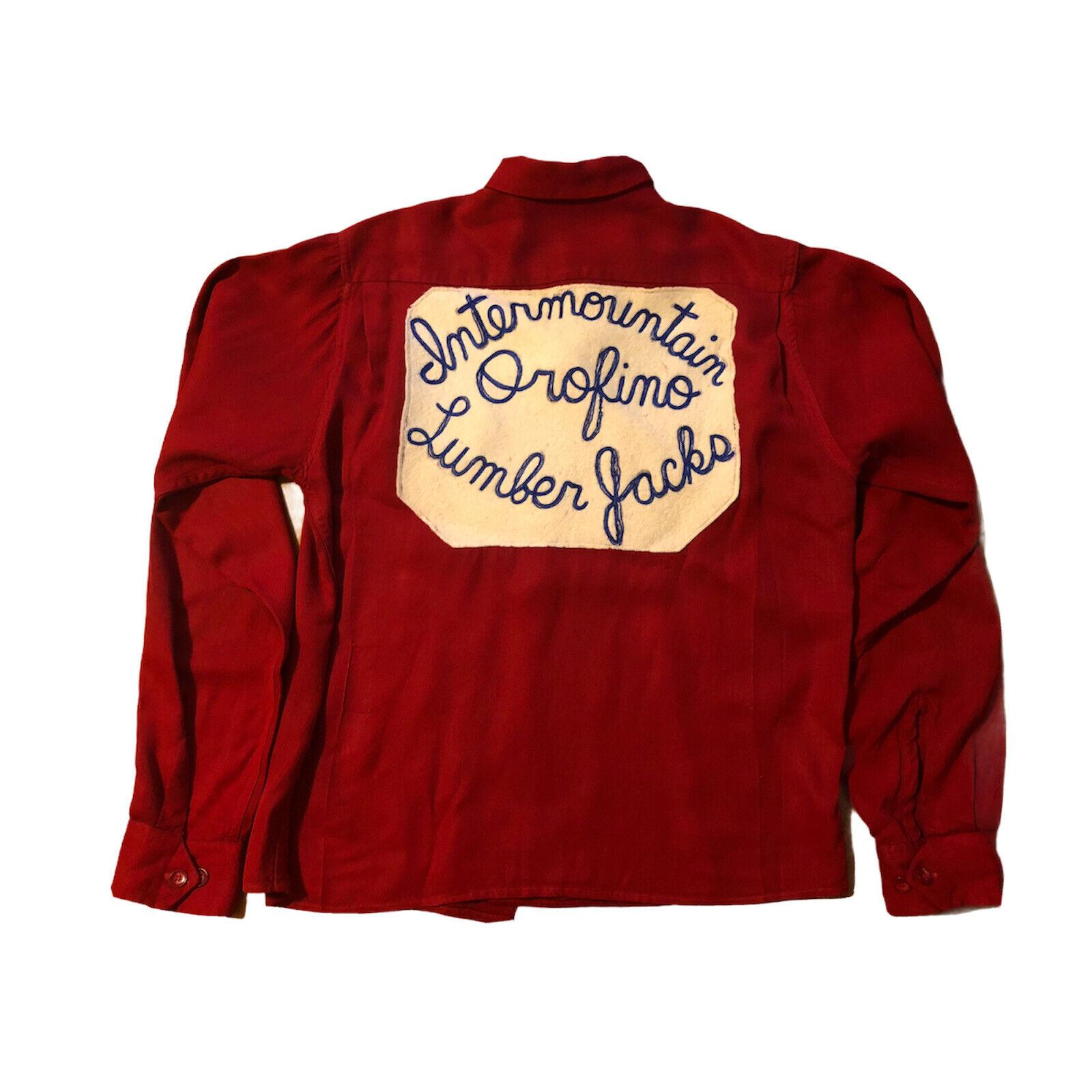 1950s Vintage Bowling Shirt Intermountain Orofino Idaho Lumberjacks Back Patch