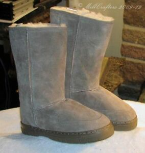 NEW-MENS-BEST-TALL-MID-CALF-SHEEPSKIN-BOOTS-TAN-SIZE-7-8-9-10-11-12-13-14-9844