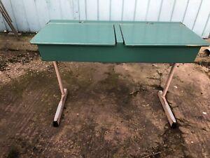 1960-70s-School-Twin-Desk-Art-Moderne-Wooden-Metal-Table