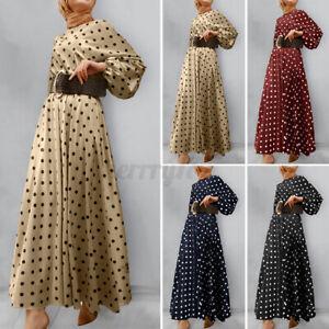 ZANZEA-Womens-Long-Sleeve-Polka-Dot-Abaya-Muslim-Islamic-Dubai-Flare-Maxi-Dress